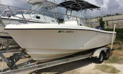 Offered for sale is a 2002 Edgewater 225 center console. She is powered by a 2002 Yamaha 200 hp HPDI 2 stroke engine. Owner states that there are less than 700 hours on the engine. Equipped with a Raymarine A60, Icom M304 VHF, a Duel stereo and