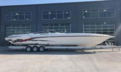 2002 Fountain 47 Lightning, Triple Mercury Racing 500 EFI (260 hours - 86 mph), Bravo XZ drives, hydraulic steering, rear ladder, 280 k planes with mechanical drive/tab indicators, Kohler 7.3KW gen (20 hours), hot water heater,  Air & Heat.