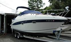 24 Ft Express Cruiser, 2002 280 HP Volvo Penta 5.7 Ltr GI, Bimini Top with Full Enclosure, Dual Battery Charger, Depth Sounder, GPS, Stereo CD Player, Microwave Oven, Electric Range, Refrigerator, Dual Batteries with Switch, Dual SS Prop, Fire Ext.