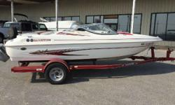 2002 Glastron SX 175 bowrider in white and red with a Volvo 3.0 135 horsepower Mercruiser sitting on a single axle color matched trailer with swing tongue. This boat is in very good condition and with Glastron's SSV hull design it runs extremely well.