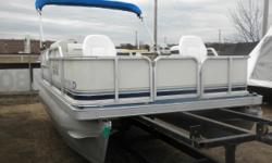 2002 Godfrey Sweetwater Challenger 16' Pontoon & 40HP Yamaha 4-Stroke Outboard. Motor Runs Great! This Pontoon Has 2 Front Swivel Seats, Mid Bench With Storage, Rear Bench Seating With Storage, Table, Gas Tank, Nav Lights, Bimini Top, New Battery. This