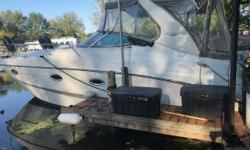 Twin 5.7 motors, Bravo III, 10/10 condition, A/C and Heat, Aluminum Trailer included, Full enclosure, 10.5 Beam, Windlass, Spotlight, vaccuflush head, Bow Pad, Drives recently serviced brand new prop! Ice maker, Wet sounds sound system, 2 10'' subs,