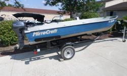 2002 Mirrocraft Resorter   Nominal Length: 14' Length Overall: 14' Engine(s): Fuel Type: Other Engine Type: Outboard Beam: 4 ft. 10 in. Stock number: 14648