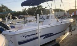2002 20' PRO-LINE SPORTSMAN IS POWERED BY A 2002 150 MERCURY 2-STROKE WITH LESS THEN 200 ORIGINAL HOURS ON BOAT AND MOTOR, GARMIN FISH FINDER 140, VHF RADIO, STAINLESS STEEL PROP, BIMINI TOP, SPRAY DODGER, CUSHIONS, BRAND NEW PORTO POTTY, 60 GALLON FUEL