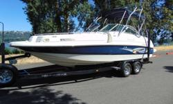 2002 Rinker 243 This Rinker is a Blast to Drive! Roomy and Comfortable. ? Bravo Three Dual Prop Outdrive ? Wakeboard Tower ? Extended Swim Platform ? Snap Out Carpet ? Raymarine ? Bow Cover and Cockpit Cover ? Bow Converts into a Bed ? Sink ? Porta Potti