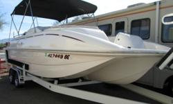 ?WORLD?S CLEANEST FLOTILLA? right here at Cowboys RV Marine!! Cream puff doesn?t come close to describing the ridiculously excellent condition of this ONE OWNER, GARAGE KEPT tri-hull deck boat! Frankly, we?ve not seen a boat this clean in 30 years! This