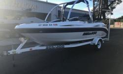 Sueper Clean, Garage kept, Wakeboard Tower, Stereo, Bimini, Boat Cover, Boarding ladder, 250 HP Mercury Opti Max. Call Shawn for more details (805) 466-9058 or email shawn@vsmarine.com Engine(s): Fuel Type: Gas Engine Type: Jet Quantity: 1 Draft: 1 ft. 0