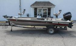 2002 Bass Tracker Pro Team 185 XT modified V equipped with Mercury 90 hp outboard motor and Motor Guide Xi5 12V trolling motor with 55 lbs thrust. Boat includes Hummingbird 197c depth finder, 20 amp 2 bank battery charger, ratchet tie downs, and single