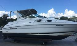 02 Wellcraft 2800 Martinique. Twin Volvo 4.3 GL (190 hp). 0 hours on port engine, 350 on starboard motor. Boat is very clean both inside and out, well equipped with A/C , stereo, electronics. Bottom paint, drives engines all clean and in good running