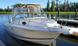 This like new freshwater 2003 WELLCRAFT 250 COASTAL Tournament edition fishing/cruising boat is ready for the lake or ocean,with its twin 150 hp evinrude ficht ram injection engines 127hours, stainless propellers.Hardtop package,duel batterys with switch