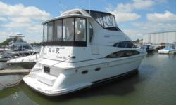 The boat has 69 hours on one motor and 68 on the other!!! This Aft Cabin Motor Yacht got high marks in the reviews when it was introduced. Comments were high marks for dramatic styling and a cavernous interior. A fresh water yacht with only 69 hours.
