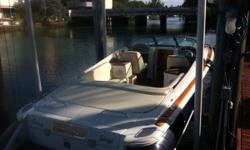 Heritage package- teak decks,swim platform ..Upgraded 8.1 L Volvo375 H.P. - 700 hours, 55 mph Top speed Duel Props. Yacht Club Blue with red stripes..Dry Storage .. Full service check every 100 hours , Vacu Flush Toilet , sink , stereo am/fm/ cd .. Thru