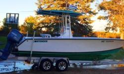 Trades considered. CANVAS BOW COVER (GREEN/BLUE) COCKPIT COVER ENGINE COVER T-TOP DECK ANCHOR W/LINES ONE FORWARD-FACING LIGHT RADAR ARCH TWO AFT-FACING SPREADER LIGHTS ELECTRICAL 12 VOLT SYSTEM BATTERY (2) BATTERY SWITCH ELECTRONICS BLUETOOTH STEREO