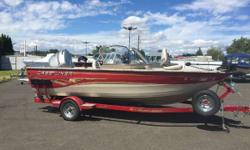 SOLD The boat we have in stock is powered by a Honda 115hp 4-stroke and a Honda 8hp 4-stroke kicker. The options on the boat include a canvas package, fish finder, Minn Kota bow mount motor, AM/FM CD player, swim step and a custom trailer with a spare