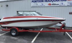 THE GREAT OUTDOORS MARINE - THE FUN STARTS HERE! 2003 CROWNLINE 180BR - WHITE & RED 2003 MERCRUISER 4.3L (220HP) I/O (286 hours) 2003 PRESTIGE SINGLE AXLE TRAILER Bimini top Large bench seat in back 2 Captain's seats 3 bow-riding seats In-floor storage