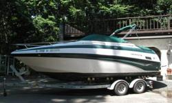 2003 Crownline 230 CCR A must see! 23 ft Crowline (2003) cuddy cabin with bathroom in absolutely mint condition inside out. Original Mercruiser 5.0 engine only 155 hours. 2009 7000 lbs Loadrite trailer with brakes like new! Depth finder bimini top cockpit