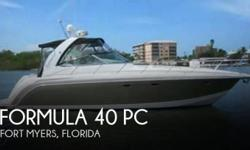 """Actual Location: Fort Myers, FL - Stock #079607 - Boat is absolutely pristine condition!This 2003 40 PC Formula express cruiser is in absolute showroom condition! The overall length is 42' 7"""" featuring the upgraded length to accommodate the upgraded and"""