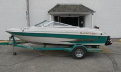 2003 GLastron 185 equipped with Mercruiser 4.3 L 190 hp inboard/outboard motor. Boat includes strap cover, snap carpet, bolster sets, rear ladder, 2' depth finder in dash, radio with 2 speakers, tilt steering wheel, and single axle trailer with swing