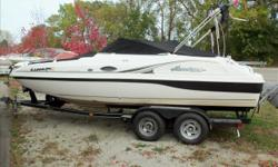 Hard to find good, running used deck boat. Enjoy cruising with friends on this roomy boat, yet have the ability to enjoy water sports. Easy to tow, and take on trips. Trades considered CANVAS BIMINI TOP COCKPIT COVER COCKPIT WALK-THROUGH WINDSHIELD