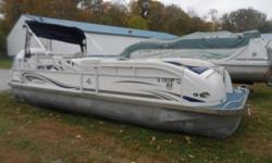 Nice starter Tri-Toon Beam: 8 ft. 6 in. Standard features: Rated for 14 persons, includes cover, bimini top, depth finder, stereo with USB, 4 speakers, amp and sub, upholster trim package, stainless steel fender holders with fenders, on board cooler,