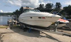 2003 Larson 274 CABRIO Mid Cabin. This boat comes with all the amenities to make a weekend on the lake very comfortable. Powered by a 320 H.P. Volvo Penta 5.7 GXI out drive, this boat can handle anything. Features include: Stove, Fridge, Sink, Microwave,