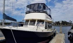 Despera II is a beautiful & spacious, blue-hulled trawler with a single CAT diesel for excellent fuel economy. Bow Thruster Single Diesel CAT 3126 - 385 HP - 1428 Hrs BRAND NEW Simrad Electronics BRAND NEW Bimini & Isinglass on Flybridge 8kW Generator