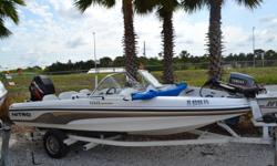 2003 188 Nitro by Tracker marine, XR6 150HP Mercury, Mercury Lazer 2 Stainless prop, Bimini Top, Lowrance Elite 4, Hydraulic Steering, Motor runs great, Boat has a shine, Floor is soft, Boat is sold as is. The boat's NADA is close to 10K. Our price