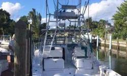 (LOCATION: West Palm Beach FL) The Pro-Line 33 Express is a high-quality, high-performance inboard fishing machine. She has an upscale interior, enclosed helm, tower, and a 115 square foot cockpit with fishing room and all the amenities needed for
