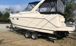 Nice mid size cruiser with single 5.7 and dual props. New camper enclosure. New fiberglass repairs. New carpet. Nominal Length: 30' Length Overall: 30' Engine(s): Fuel Type: Other Engine Type: Stern Drive - I/O Beam: 9 ft. 0 in.