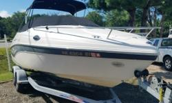 One owner since new. This is a great family boat that has a very comfortable cabin area with the center cushion insert for plenty of sleeping room and a porta-potti too for the weekend getaway to that remote anchorage.A Bimini top,and like-new weather