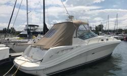 Enjoy your weekends away on this Sea Ray 340 Sundancer! The cockpit is arranged with U-shaped aft seating and a wet bar for convenience. Below decks in the cabin, you will notice the high gloss cherry interior, sleeping for four, a full galley, and