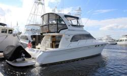 JUST REDUCED $20,000! 2003 48' Sea Ray Sedan Bridge -- Cummins Powered Vessel in Excellent Condition -- 1,000 Hour Service Completed in 2015  Loaded with Upgrades: Hydraulic Swim Platform, New Bridge Enclosure, Bridge A/C + Heat, Bow Thruster,