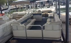 A great pre-owned pontoon here. This boat was well used but still has plenty of life left in it! Smokercraft has been around forever and makes some solid boats. The upholstery is a little worse for wear but definitely serviceable. We have already replaced
