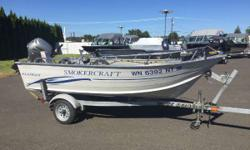 "Special Fall/Winter Price! This boat is powered by a Honda 20hp electric start motor. The options on the boat include a Minn Kota bow mount motor, 5"" fish finder, 2 anchors, spare tire, swivel seat, flat floor and galvanized trailer. Engine(s): Fuel Type:"