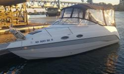 This is a really GREAT family boat. She's been professionally cared for and has had constant upgrades to include a complete new camper canvas enclosure that will extend your boating season well into the fall if you choose. She has a VHF Radio,Trim Tabs,