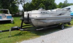 Bow fishing seats Beam: 8 ft. 0 in. Standard features: Rated for 9 persons. Includes 2010 trailer with spare, fish/depth finder, tackle storage, livewell, cover, rear boarding ladder.