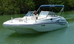 2004 HURRICANE 237 SUNDECK, FUN, FAMILY BOATING IS JUST AHEAD ! YAMAHA 225 HP 4-STROKE . Includes Fish Package with two forward fish chairs, livewell, tackle storage and a new Garmin color GPS / Fishfinder. This full windshield Sundeck series has plenty