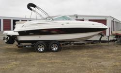 This is a beautiful, clean boat with trailer included. It is powered by a 5.7 350 MPI with a Bravo 3 outdrive. It has front and rear radio controls and water spicket, front filler cushions, two tables, front snap cover, bimini top, swim platform, porta