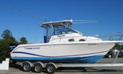 2004 26 Proline Walkaround withtwin 2005 Mercury Optimax 150 DFI motors. Well maintained with all service records available for review. Canyon capable, she can easily go off-shore for Marlin, Tuna, Dolphin or your favorite species.