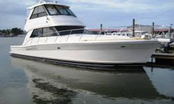Description Perhaps the cleanest best equipped 48 Riviera on the market this 2004 has some highly desirable options. Forward windows makes this boat a must see. Upgraded A/C on Enclosed Bridge Bow Thruster Underwater Exhausts High Gloss Cherry interior