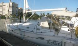 This Beneteau 331 shoal draft bulb keel mid-size sloop is ready for you to cruise home or any destination. She's easy to sail with roller furling genoa and in-mast furling mainsail controlled from the cockpit. Raise the gennaker (asymmetrical spinnaker)