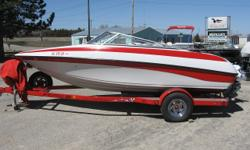 Volvo 4.3L, Very Clean, 119 Hours, Cover, Bimini Top, Stainless Steel Prop, comes with a tube/tow rope/ski rope Beam: 7 ft. 8 in. Hull color: Red/White Boat cover; Vhf radio; Bimini top; Radar;