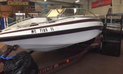 POWER: V6 MERCRUISER GREAT ALL AROUND RIG AVERAGE CONDITION HAS COVER AND SPARE TIRE. BET THE SPRING RUSH!!! PURCHASE TODAY AND HBS WILL STORE IT FREE TILL SPRING VISIT OUR SITE TO SEE ALL OUR NEW AND USED ITEMS WITH JUST ONE CLICK. www.boatstuff.com