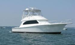 This Egg Harbor 43 Sport Yacht is an exceptional convertible boat! The flybridge is rigged with Raymarine Electronics and has custom teak helm chairs. Fishing amenitiesinclude a transom livewell, over sizedgunwale rod holders, and bait prep