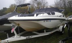 This well cared for open deck boat has the space and the power for a full weekend of fun on the water. Trades Considered. General Options BIMINI TOP BOW COVER COCKPIT COVER FISH FINDER SKI TOW STANDARD USED BOAT POLICY STEREO STOCK# P3755 Additional