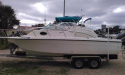 The Hydra-Sports 230 WA is part fish boat and part family sport cruiser. A single V-6 engine is all that's needed to find the fish fast. After reeling in those bluewater monsters, anglers can take a break down below in the spacious forward cabin. It