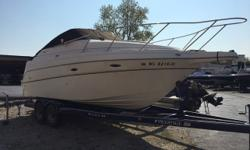 New September 2017 listing. 2004 Maxum 2400 SE with 5.0L Merc, trailer, camper enclosure, 510 hours and a motivated seller. Located at our Pewaukee, WI location for your viewing pleasure. Trades considered. CANVAS BIMINI TOP CAMPER CANVAS MOORING COVER