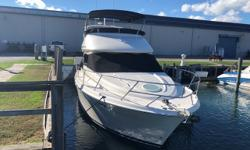 This beautifully well-maintained 2004 Meridian 381 Sedan Bridge is well equipped with twin Cummings Diesel motors 330 HP and is in PRISTINE condition! She has sleeping accommodations for up to six in two separate private staterooms and numerous other