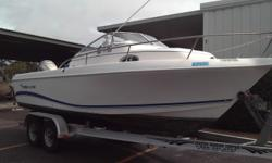2004 Pro line 22 Walkaround w/ 2006 Honda BF225 Four Stroke Engine and Tandem Axle Aluminum Trailer. Bimini Top Engine(s): Fuel Type: Gas Engine Type: Outboard Quantity: 1 Draft: 1 ft. 3 in. Beam: 8 ft. 5 in.