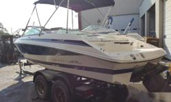 Plenty of power with this Volvo 5.0 V-8 to get out on the water for a fun time. With it's good looks and step hull you get both beauty and speed. Has the walk thru transom. Fresh water only and has been checked mechanically. Take a test drive on this